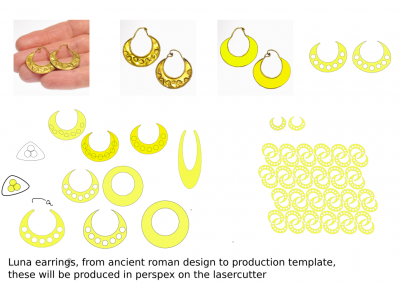 luna earrings production template
